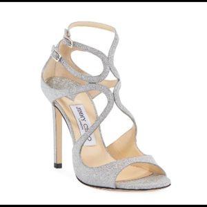Jimmy Choo Lang Glitter sandals heels in Silver